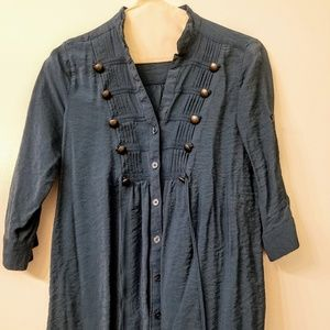 Navy button up tunic